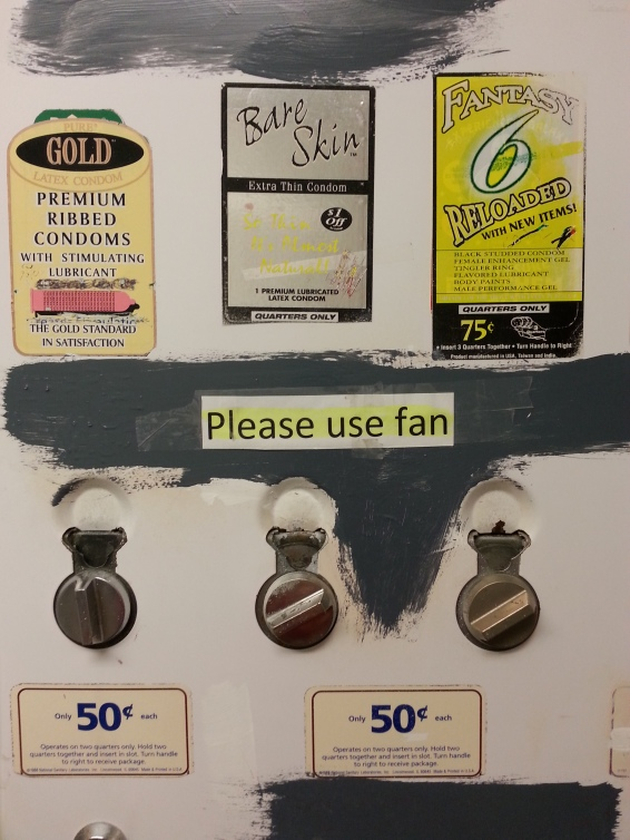 Uh, wait. How do they want the fan to be used? Also, How do I get $1 off a 50c purchase? Turn the dial and get a condom AND 50c?