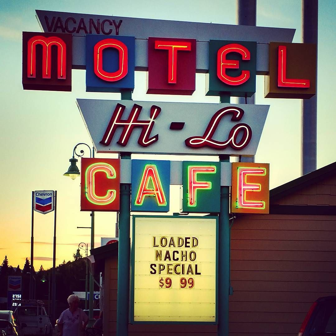 Dinner last night at the Hi-Lo Cafe in Weed, CA. Love the retro neon sign - it even goes with the classic retro dinner menu. Perfect.