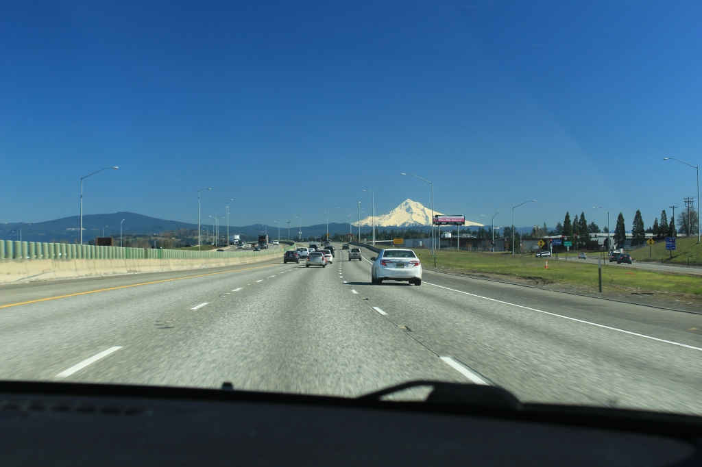 An ordinary view of Mt Hood from I-84 near Wood Village, OR